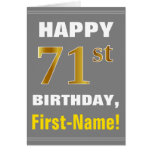 [ Thumbnail: Bold, Gray, Faux Gold 71st Birthday W/ Name Card ]