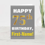[ Thumbnail: Bold, Gray, Faux Gold 75th Birthday W/ Name Card ]