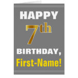 [ Thumbnail: Bold, Gray, Faux Gold 7th Birthday W/ Name Card ]