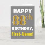 [ Thumbnail: Bold, Gray, Faux Gold 88th Birthday W/ Name Card ]