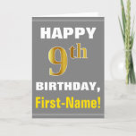 [ Thumbnail: Bold, Gray, Faux Gold 9th Birthday W/ Name Card ]