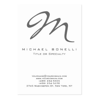 Bold Gray Monogram Calligraphy Business Card Chubby Business Cards