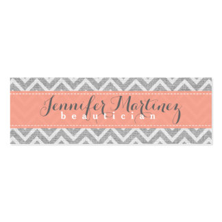 Bold Gray & Orange Chevron Pattern Linen Look Business Card Templates