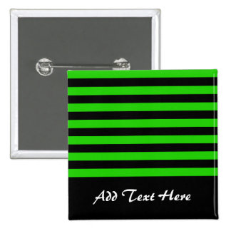 Bold Green and Black Stripes Pattern Button