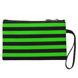 Bold Green and Black Stripes Pattern Wristlet