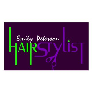 Bold Green And Purple Hair Stylist Text Design