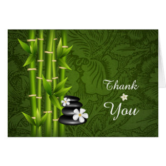 Bold Green Bamboo Black Meditation Cairn Thank You Card