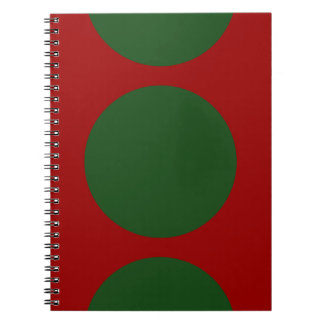 Bold Green Circles on Red Notebook