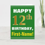 [ Thumbnail: Bold, Green, Faux Gold 12th Birthday W/ Name Card ]