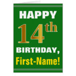[ Thumbnail: Bold, Green, Faux Gold 14th Birthday W/ Name Card ]