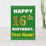 [ Thumbnail: Bold, Green, Faux Gold 16th Birthday W/ Name Card ]