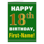 [ Thumbnail: Bold, Green, Faux Gold 18th Birthday W/ Name Card ]