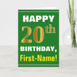 [ Thumbnail: Bold, Green, Faux Gold 20th Birthday W/ Name Card ]