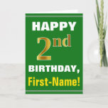 [ Thumbnail: Bold, Green, Faux Gold 2nd Birthday W/ Name Card ]