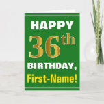 [ Thumbnail: Bold, Green, Faux Gold 36th Birthday W/ Name Card ]
