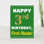 [ Thumbnail: Bold, Green, Faux Gold 3rd Birthday W/ Name Card ]