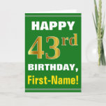 [ Thumbnail: Bold, Green, Faux Gold 43rd Birthday W/ Name Card ]