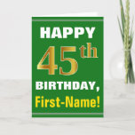 [ Thumbnail: Bold, Green, Faux Gold 45th Birthday W/ Name Card ]