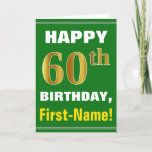 [ Thumbnail: Bold, Green, Faux Gold 60th Birthday W/ Name Card ]