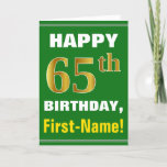 [ Thumbnail: Bold, Green, Faux Gold 65th Birthday W/ Name Card ]
