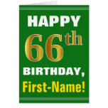 [ Thumbnail: Bold, Green, Faux Gold 66th Birthday W/ Name Card ]