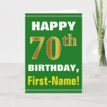[ Thumbnail: Bold, Green, Faux Gold 70th Birthday W/ Name Card ]