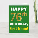 [ Thumbnail: Bold, Green, Faux Gold 76th Birthday W/ Name Card ]