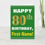[ Thumbnail: Bold, Green, Faux Gold 80th Birthday W/ Name Card ]