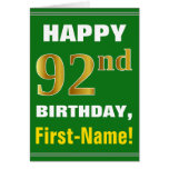 [ Thumbnail: Bold, Green, Faux Gold 92nd Birthday W/ Name Card ]
