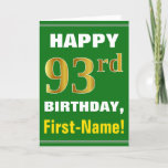 [ Thumbnail: Bold, Green, Faux Gold 93rd Birthday W/ Name Card ]
