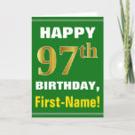 [ Thumbnail: Bold, Green, Faux Gold 97th Birthday W/ Name Card ]