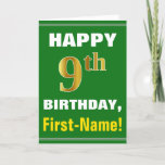 [ Thumbnail: Bold, Green, Faux Gold 9th Birthday W/ Name Card ]