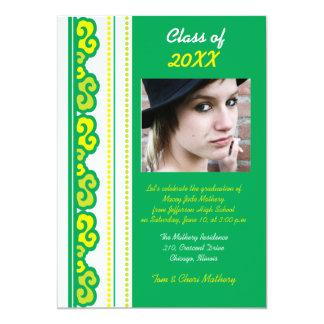 Bold Green - Graduation Party invites. Card