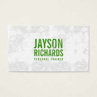 Bold Green Grunge Stamped Text Business Card