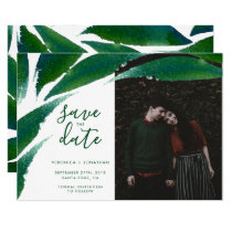 Bold Green Leaves | Botanical Photo Save The Date Card