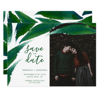 Bold Green Leaves   Botanical Photo Save The Date Card