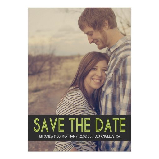 Bold Green Photo Save The Date Announcements