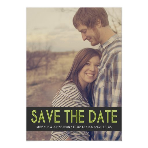 """Bold Green Photo Save The Date Announcements 5"""" X 7"""" Invitation Card"""
