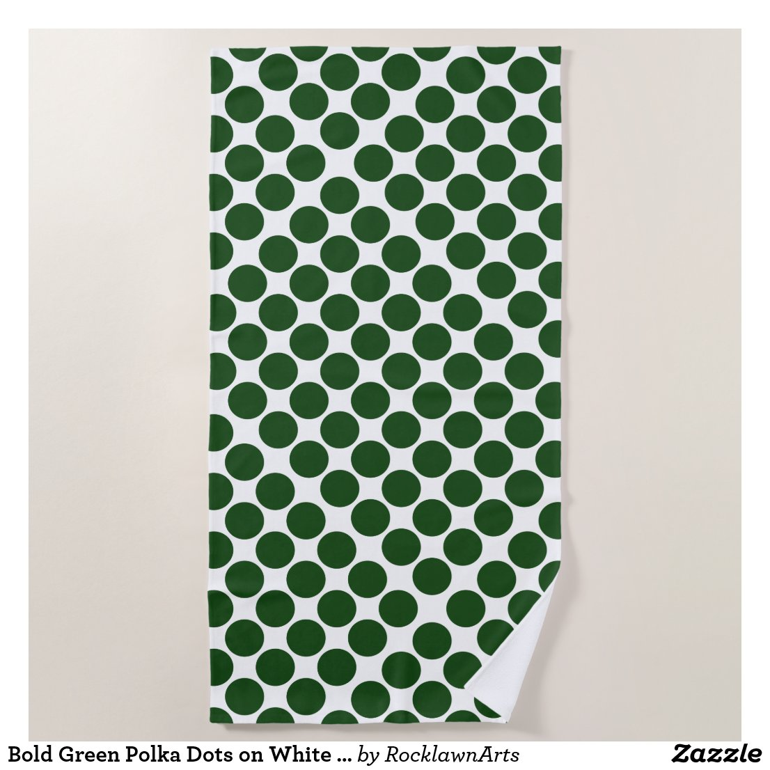Bold Green Polka Dots on White Beach Towel