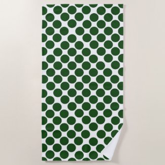 Bold Green Polka Dots on White Beach Towel