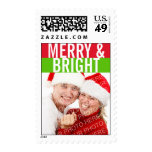 Bold green red Merry Bright photo holiday stamp