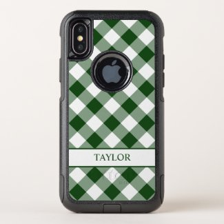 Bold Green White Buffalo Check Pattern Your Name OtterBox Commuter iPhone XS Case