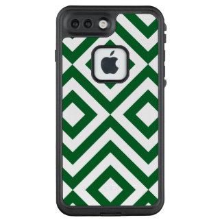 Bold Green & White Diamonds, Zigzags LifeProof® FRĒ® iPhone 7 Plus Case