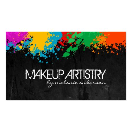 Grunge Black and Bold Colors Makeup Artist Calling Cards
