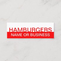 bold HAMBURGERS Mini Business Card