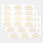 "[ Thumbnail: Bold ""Happy Birthday,"" + Custom Name Wrapping Paper Sheets ]"