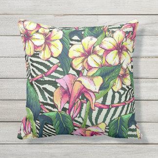 Bold HAWAIIAN Floral Monstera Leaves & Plumeria Outdoor Pillow