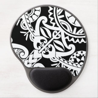 Bold heavy black tribal polynesian tattoo mask gel mouse pad