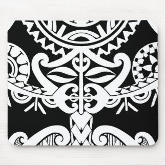 Bold heavy black tribal polynesian tattoo mask mouse pad