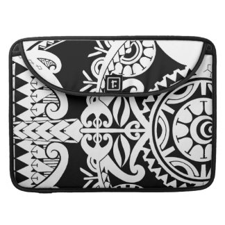 Bold heavy black tribal polynesian tattoo mask sleeves for MacBook pro